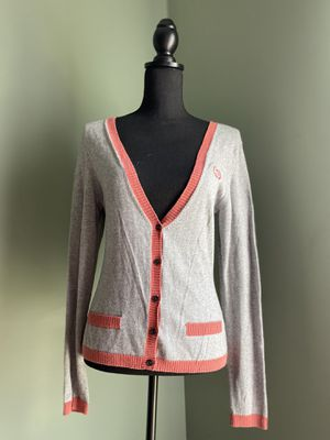 Grey cardigan with red-orange trim for Sale in Bristow, VA