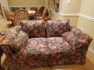 Loveseat upholstered in beautiful tapestry fabric. Custom made. Hardly used. for Sale in Frederick, MD