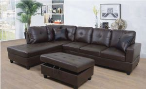 New-Couch sectional with ottoman. espresso for Sale in San Leandro, CA