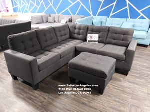 Real Showroom 😁 We Finance - Blue Grey L Shape Couch Sofa Sectional With Ottoman for Sale in Bellflower, CA