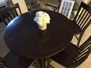 Walnut high top table with four chairs for Sale in Wesley Chapel, FL