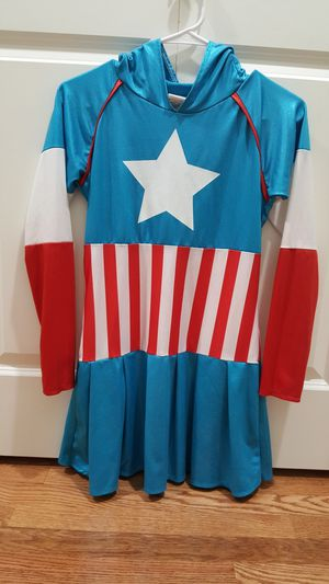 Captain America Dress/ Costume, Size XL kids ( for girl 8 - 10 years old.) Great condition! for Sale in Everett, WA