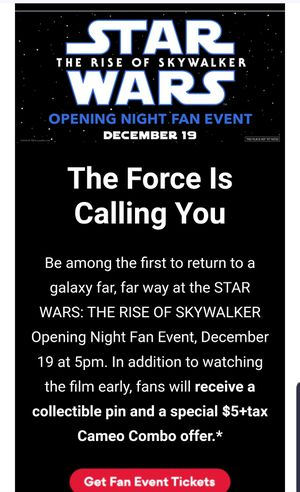 star wars fan event ticket w pin 12/19 @amc village crossing for Sale in Chicago, IL