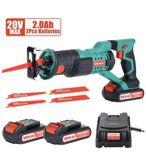 """Reciprocating Saw 20V 2Ah 2 Batteries 4 Saw Blades, 0-2800SPM Variable Speed, 7/8"""" Stroke Length Tool-Free Blade Change LED Light for Wood Metal Cut for Sale in North Bergen, NJ"""