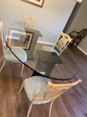 Glass dining table & pedestal for Sale in Falls Church, VA