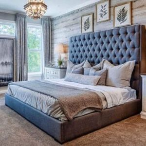 """(New In Boxes) Queen Size Gray 71"""" High Tuft Button Fabric Bed Frame***NO MATTRESS SET for Sale in Atlanta, GA"""