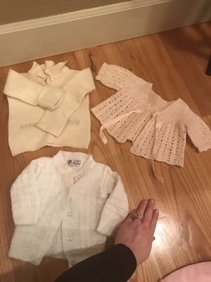 Three antique doll or baby sweaters two are handmade for Sale in Boring, OR