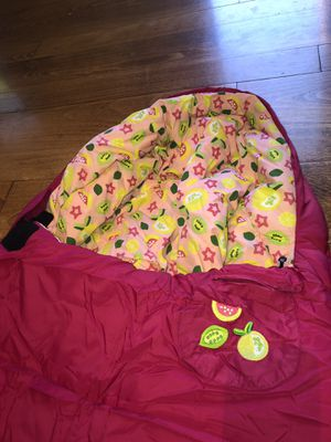 REI Co-op Kindercone Pink Fruit Mummy sleeping bag , rates 30+ Degrees; Kids Youth w/ stuff sack; LAST ONE REMAINING! for Sale in Scottsdale, AZ