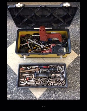 sockets wrenches mechanics hand tools in Stanley box for Sale in Columbus, OH