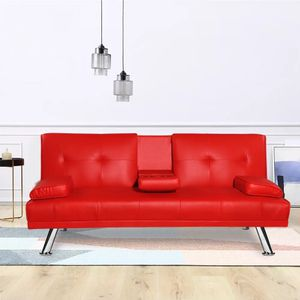 Sofa Bed Red Faux Leather Futon Fold Up And Down Couch for Sale in Chino, CA