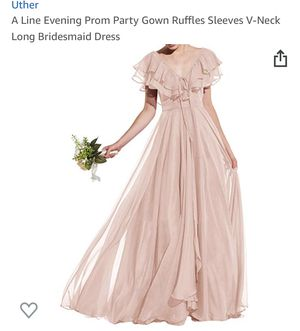 New: (Color Blush) Evening Prom Party Gown Ruffles Sleeves V-Neck Long Bridesmaid Dress for Sale in Hayward, CA