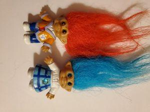 Orange hair girl and blue hair boy troll doll for Sale in Downey, CA