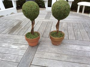 """SET OF TWO, FAUX MOSS DECORATIVE, TABLETOP, TOPIARY TREES, 11"""" TALL & 4"""" BALL WIDTH for Sale in Dayton, OH"""