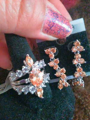 Brilliant luxury Champagne Natural Gemstones Ring, the size 7, and Earrings. for Sale in Colorado Springs, CO