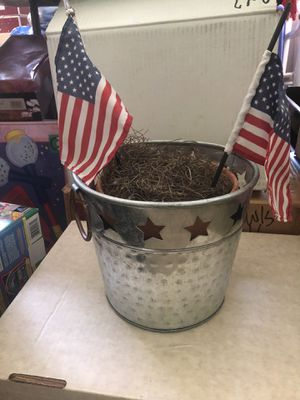 Galvanized silver bucket with star cutouts for Sale in Greenwood Village, CO