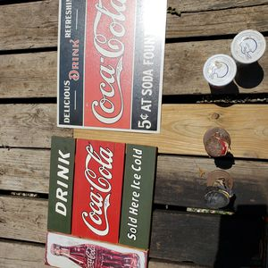 Coke cola signs 1 metal 1 wood for Sale in Cumberland, VA