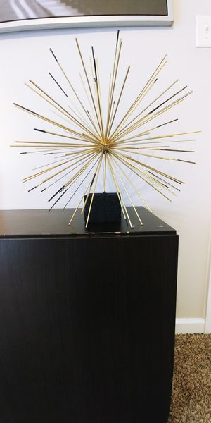 Handmade Gold Black Starburst Spikes Bamboo Home Decor Office Contemporary Unique Statue for Sale in Charlotte, NC