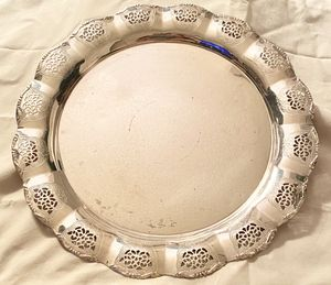 Vintage Silverplate Round Footed Serving Tray Made In Western Germany for Sale in Pembroke Pines, FL