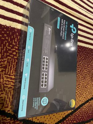 TP-Link 16 Port Gigabit PoE Switch 8 PoE Port+ @110W Easy Smart Plug & Play Lifetime Protection Sturdy Metal w/ Shielded Ports Support QoS, Vlan, IGM for Sale in Dallas, TX