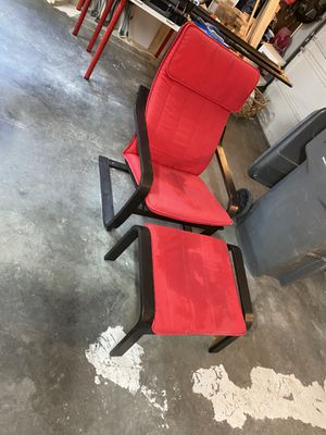 Red IKEA chair and foot rest for Sale in Wenatchee, WA