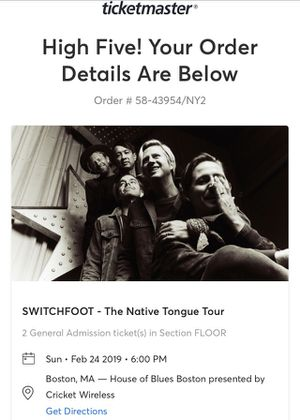 3 Switchfoot tickets for tonight for Sale in Newton, MA