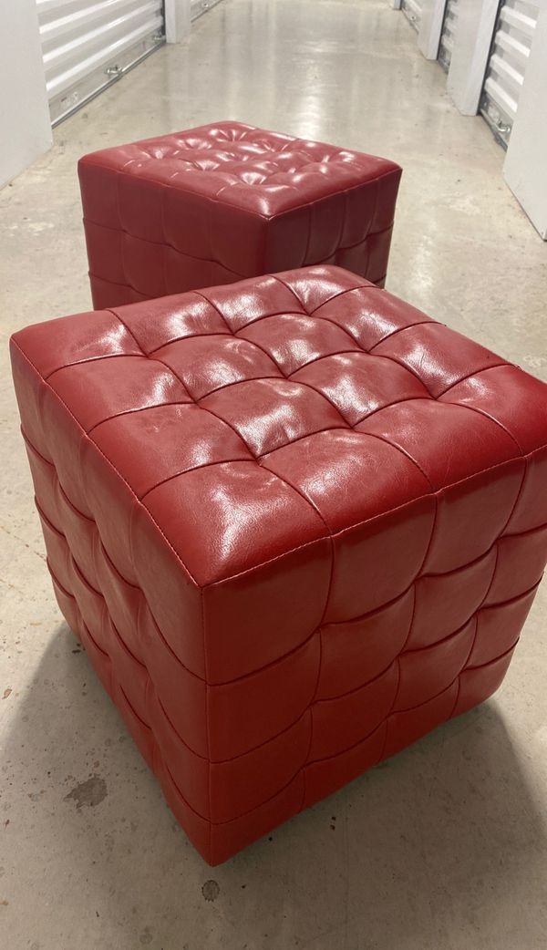 (2) Red Faux Leather Small Stools