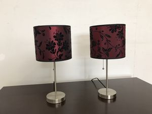 Lightly used Pair of Lamps Wine color shade with silver base for Sale in Fontana, CA