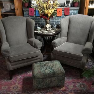 Two Antique Wingbacks (Grey) for Sale in Portland, OR