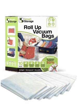 Roll-Up Spacesaver Premium Reusable Vacuum Storage Bags | Compression Bags for Travel | Waterproof Vacuum Sealed Clothing Bags | No Pump or Vacuum Re for Sale in Brooklyn, NY