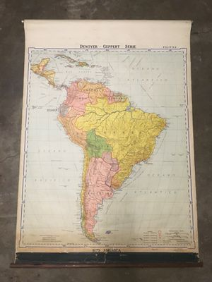 Vintage South America School Map 1943 for Sale in Antioch, CA