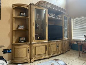Big wooden tv stand for Sale in Houston, TX