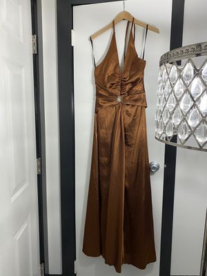 Prom Maxi dress satin brown for Sale in Columbus, OH