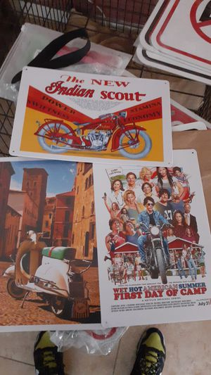 3 signs for decoration garage man cave metal about 9x11 new wet got American summer Indian scout motorcycle Italian vespa for Sale in San Bernardino, CA