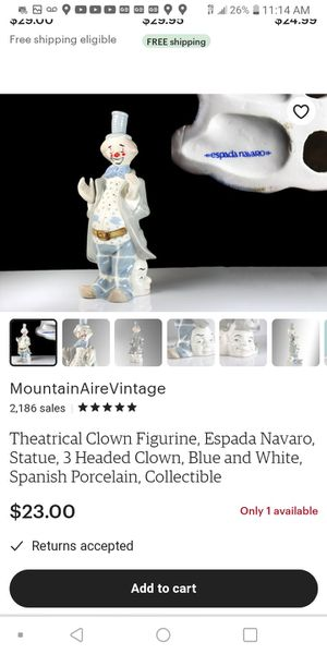Theatrical Clown Figurine, Espada Navaro, Statue, 3 Headed Clown, Blue and White, Spanish Porcelain, Collectible for Sale in Tacoma, WA