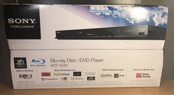 NEW Sony BDP-S580 3D Blu-Ray/DVD Player, Wi-Fi Netflix Streamer With Remote