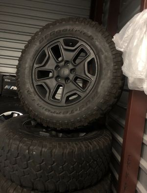 Matte black Jeep rubicon wheels rims with bfgoodrich mud terain tires for Sale in Hawthorne, CA