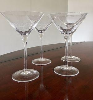 Crackle clear martini glasses (4) for Sale in Murfreesboro, TN