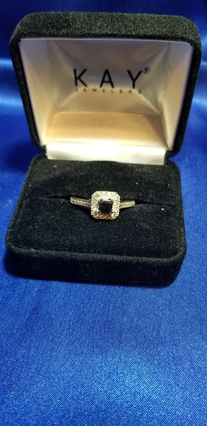 Black/White Diamond Ring 5/8 ct Princess-cut 10k White Gold for Sale in Conway, AR