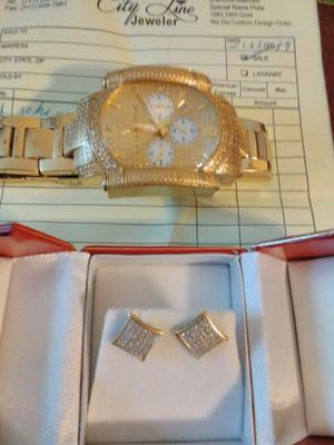 Aqua master gold & diamond face watch , and 14k gold diamond earrings.. for Sale in Lancaster, PA