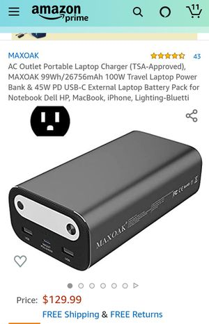 AC Outlet Portable Laptop Charger (TSA-Approved), MAXOAK 99Wh/26756mAh 100W Travel Laptop Power for Sale in Rialto, CA