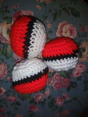 3 Handmade Crochet Poke ball juggling balls / hacky sack for Sale in Baldwin Park, CA
