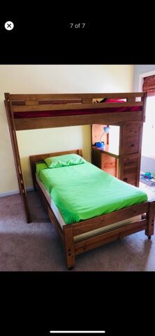 Bunk bed (2) Full and twin , Natural color, with Storage. ( Semi new, uses only 6 months!.) for Sale in Garner, NC