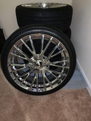 437 GENESIS Chrome Plated - 5 Lug Rims (5x120)& Tires for Sale in Woodbridge, VA