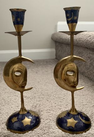 Vintage Pair Of 2 Brass Moon Star Candlestick Candle Holder House Decor Ornaments for Sale in Chapel Hill, NC