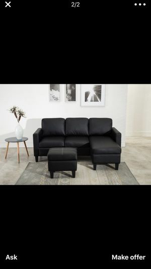 Brand New Black Faux Leather Sectional Sofa Couch + Ottoman for Sale in Elkridge, MD