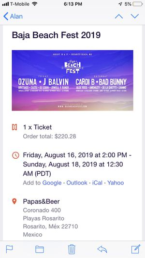 Baja Beach Fest 2019 (Cardi B Bad Bunny+More) for Sale in Los Angeles, CA