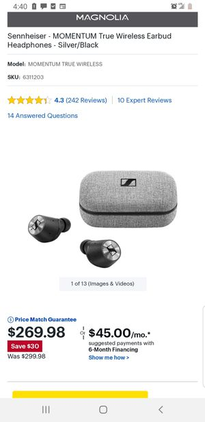 Sennheiser Momentum True Wireless earbuds for Sale in Chicago, IL
