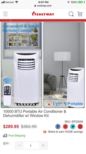Costway 10000 BTU Portable AC & Dehumidifier with window kit and remote in SOLD OUT color black for Sale in Las Vegas, NV