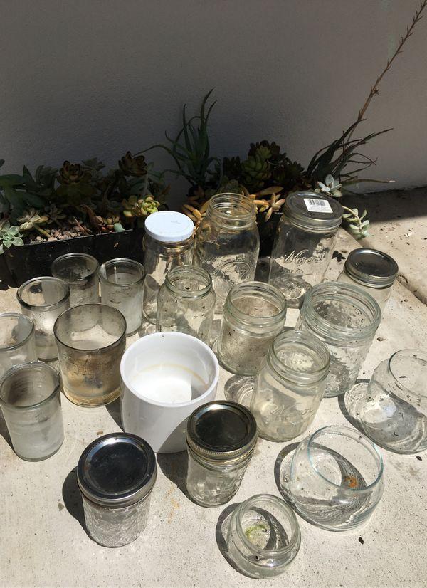 20 Mason and glass jars