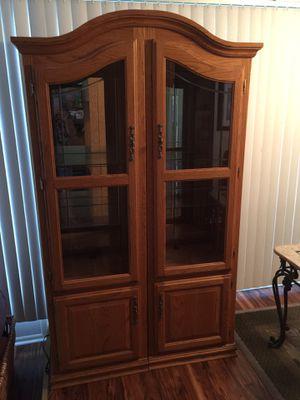 Oak Display Cabinets Wall Unit TV Stand 3 pc for Sale in Ellenton, FL